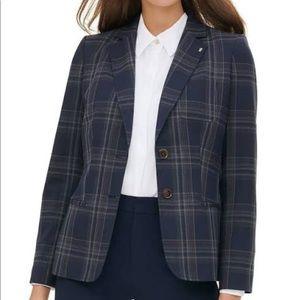 Suede patch plaid blazer size 2